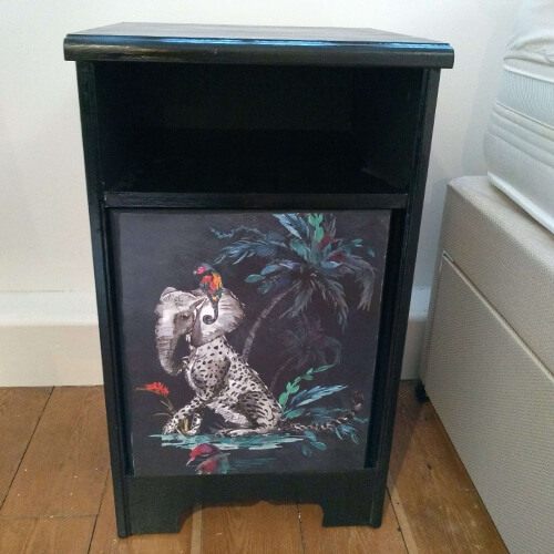 funky bedside table with animal designs