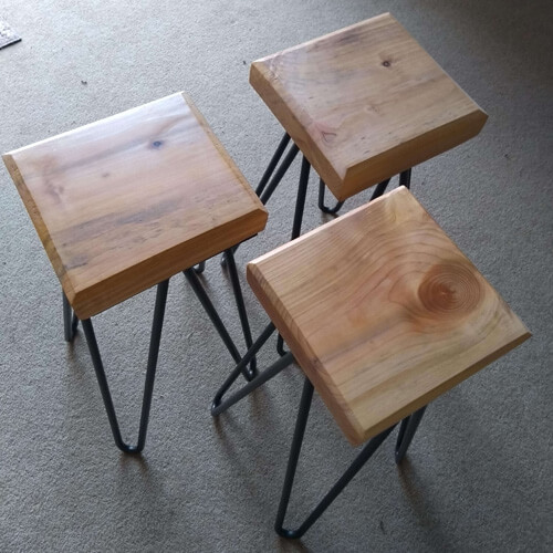 3 small solid wood bedside tables